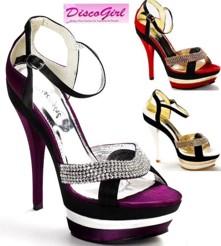 Ladies Diamonte Strap Platform Formal Wedding Evening Shoe Sizes 3 4 5 6 7 8