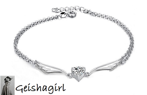 925-Sterling-Silver-Wedding-Bride-Fashion-Angel-Wings-Clear-CZ-Gem-Anklet-Ankle