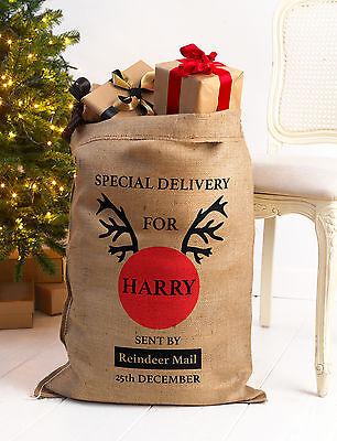 Vluchten Zoeken Personalised Christmas Santa Sack Xl Extra Large Hessian Traditional Stocking V1 Van Het Grootste Gemak