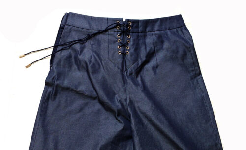 Blu Tg Con In Ferragamo 44 It Pantaloni Salvatore Bottoni Marinaio Donna Cotone Nwnm80v
