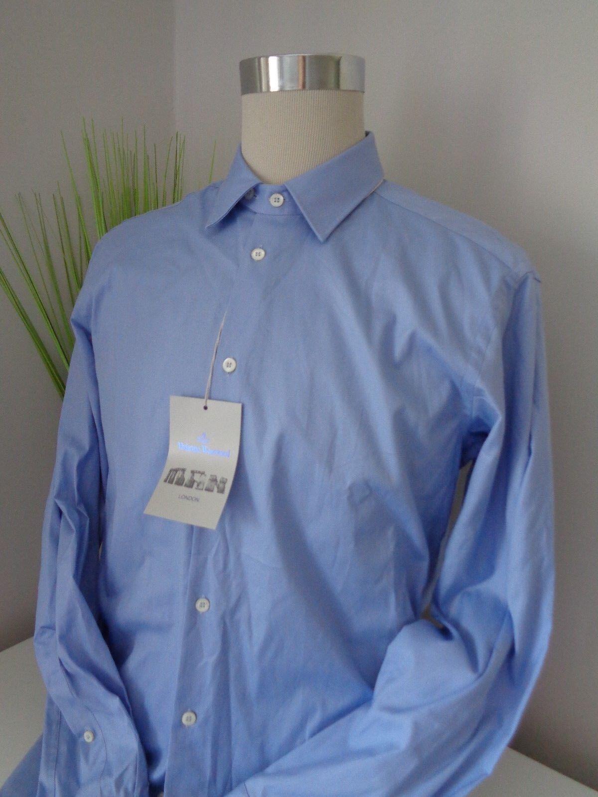 BNWT Vivienne Westwood Man Blau Cotton Formal Shirt Größe 50 UK 40 chest