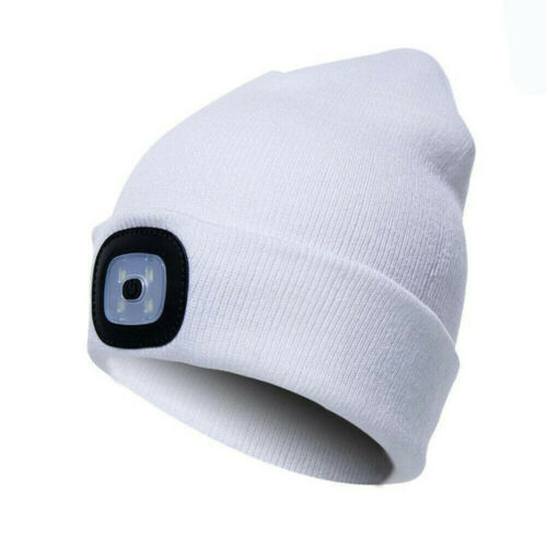 Unisex LED Beanie Hat With Battery High Powered Head Lamp Light Knitted Hat Cool