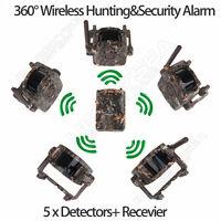 Motion Sensor Wireless Detector Alarm Alert Secure System 1x Receiver+5 Detector