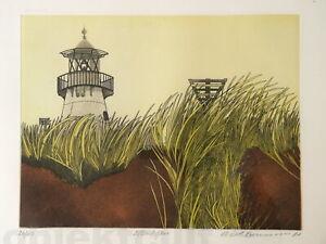 Elisabeth-Axmann-Lithografie-039-81-Ellenbogen-Sylt-Leuchtturm-signiert-lim-26-150
