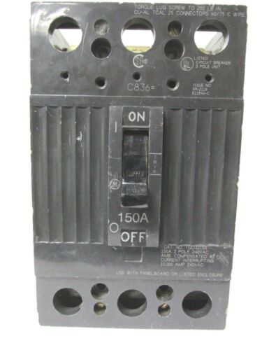 C-51D * GENERAL ELECTRIC 150 AMP 3 POLE BREAKER TQD32150...