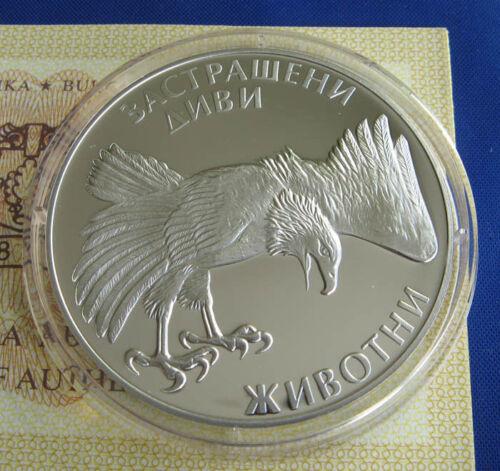 Endangered wild animals BULGARIA 100 leva 1992 COA Silver Eagle MINT