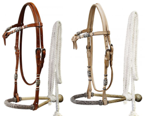 Showman Rawhide SHOW BOSAL Leather FUTURITY KNOT Headstall & Cotton MECATE Rein