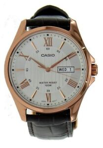 Casio-Men-039-s-Rose-Tone-Leather-Band-Day-Date-Roman-Black-Dial-Watch-MTP-1384L-7AV