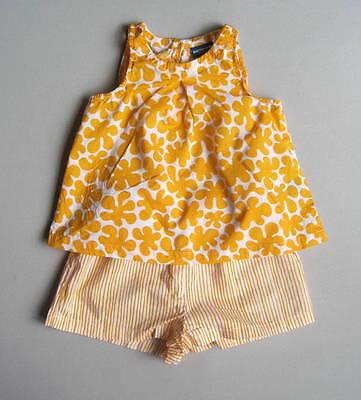 Marimekko for Target Girls 2T Floral Striped Shorts Set EUC Yellow White