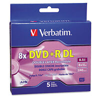 Verbatim Dual-layer Dvd+r Discs 8.5gb 8x W/jewel Cases 5/pack Silver 95311