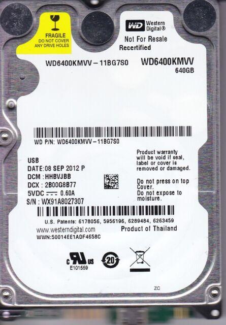 WD6400KMVV-11BG7S0   dcm:HHBVJBB sn: WX91 Western Digital 640Gb  USB 2.0  A23-20