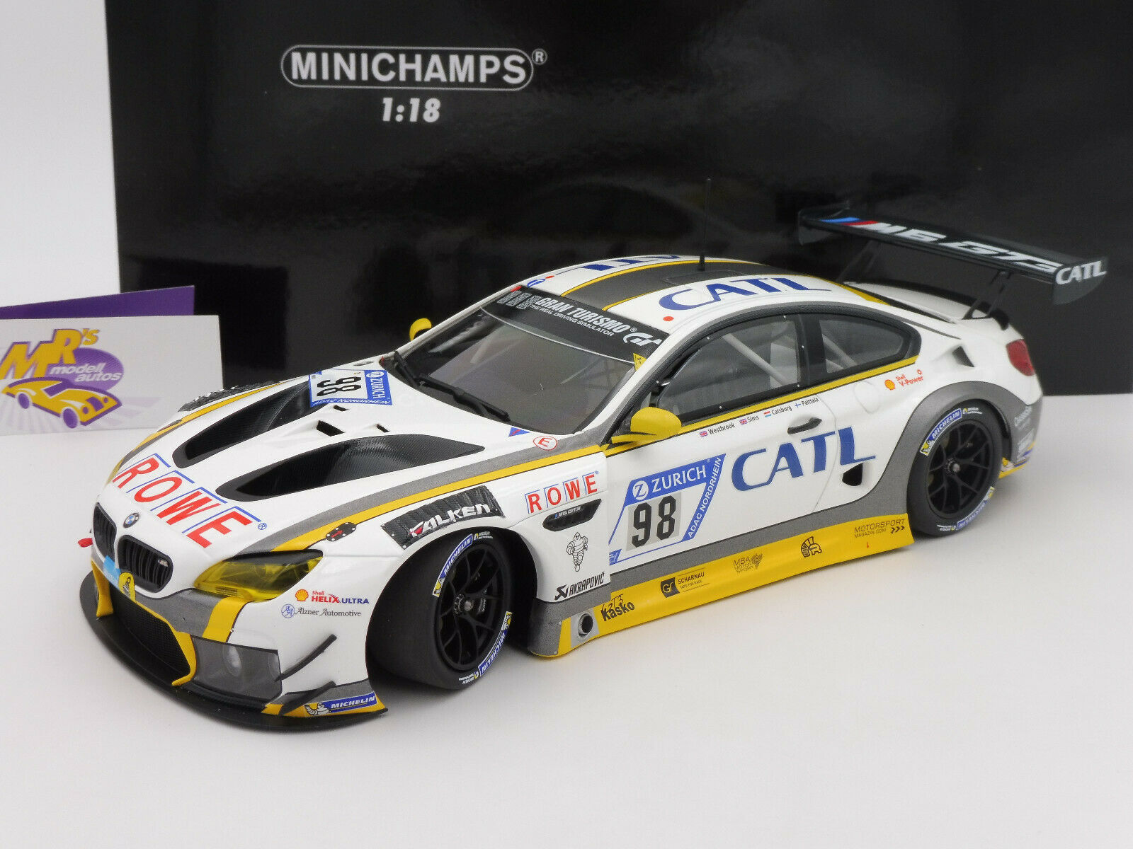 MINICHAMPS 155172698   BMW m6 gt3 no. 98  24 H Nurburgbague 2017 Rowe Racing 1 18  100% livraison gratuite