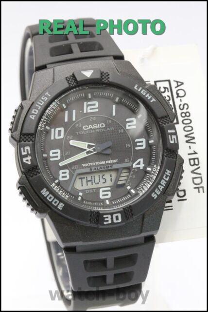 AQ-S800W-1B Black Casio Watch Tough solar 5 alarms World time Stopwatch Rsein