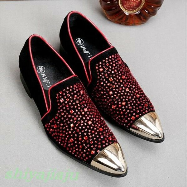 New Fashion Mens Rhinestones Metal Heads Slip On Loafers Hairstylist Dress shoes
