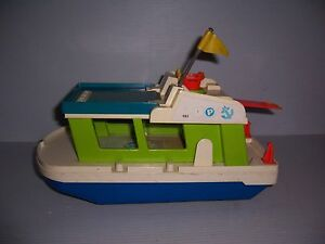 VINTAGE-1972-FISHER-PRICE-LITTLE-PEOPLE-PLAY-FAMILY-BOAT-HOUSEBOAT