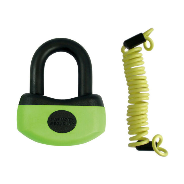 NEW MAMMOTH MAXI 2 IN 1 MOTORCYCLE DISC LOCK SHACKLE PADLOCK