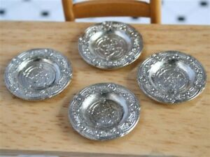 Set-of-Four-Pewter-Plates-Platters-Dolls-House-Miniature-Dining
