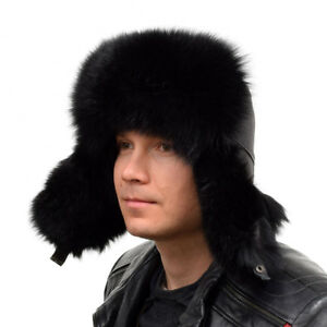 8b2dd4f2494 Genuine Men s Black Fox Fur Ushanka Hat I Natural Real Fur Warm ...