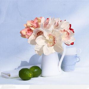 Blanco-verdadero-toque-de-Seda-Orquidea-Artificial-Flor-Boda-nupcial-Ramo-Decoracion-del-hogar
