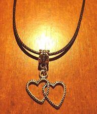collier ciré noir 47 cm avec pendentif coeurs enlacés 22x22mm