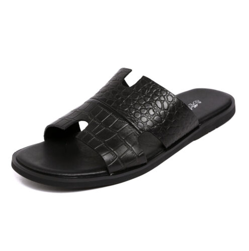 New Men/'s Genuine Leather Sandals Slippers Casual Sandal Flip Flop Shoes Z8001