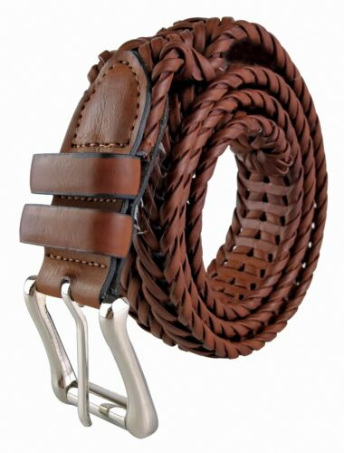 Mens PU Leather Tan Brown Woven Weave Braided Belt 40mm Wide with Metal Buckle