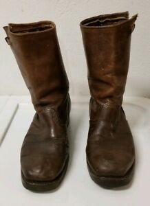 Carolina Sierra Boots in Brown distressed Leather slipon resoled  mens Size 8