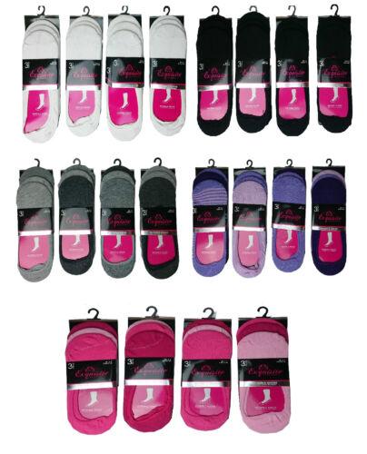 3 or 6 Pairs Ladies Invisible Trainer Liner Women Girls  Footsie Shoe Socks
