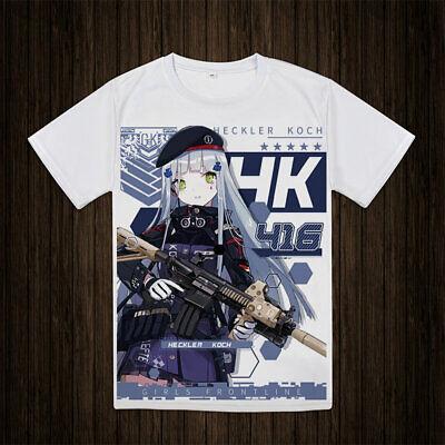 Girls Frontline HK416 White Short Sleeve T-shirt Summer Shirt Causal Top TEE
