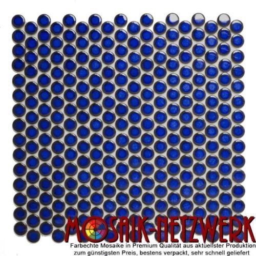 Knopf Penny Rundmosaik uni kobaltblau glänzend Fliese Wand Art:10-0405 10 Matten