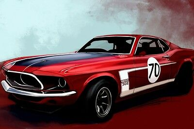 Ford Mustang Boss 302 Muscle Car SILK POSTER 24x36