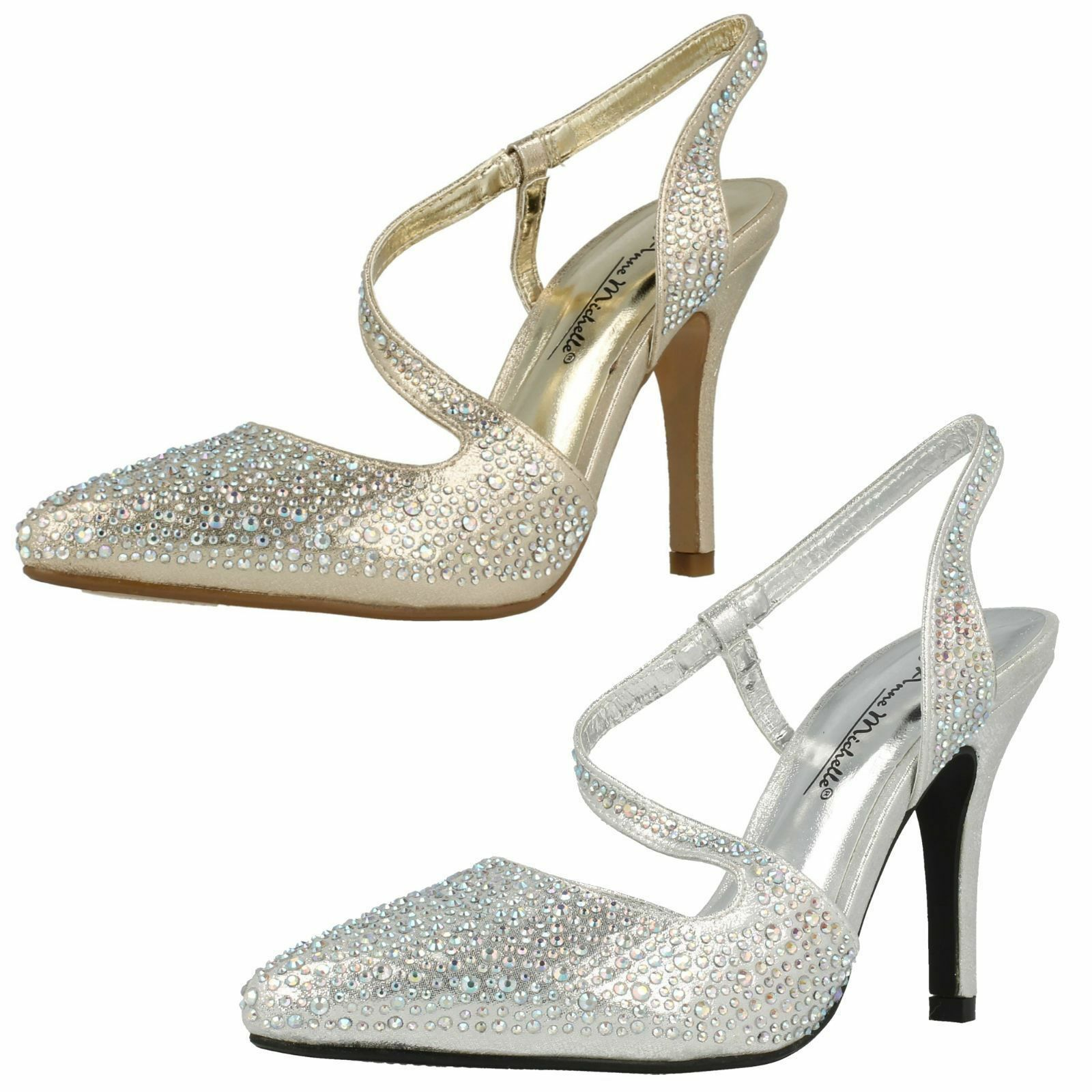 Ladies Anne Michelle gold and silver  sling back shoes F9812