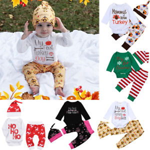 Details About 3pcs Smart Newborn Baby Kids Girl Boy Romper Tops Pants Hat Thanksgiving Outfits