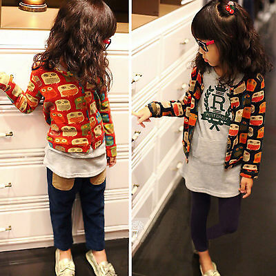 New Baby Children Girls Kid Colorful Owl Animal Clothes Shirt Outerwear Size 2-7