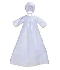 bebe-filles-satin-blanc-manches-longues-bapteme-robe-bonnet-0-3-6-9-12-mois