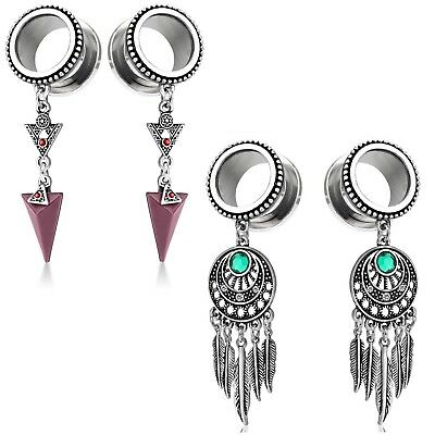 NEW TRIBAL DESIGN ARROW /& FEATHER DANGLE EAR PLUGS TUNNELS VALUE PACK 2 PAIRS