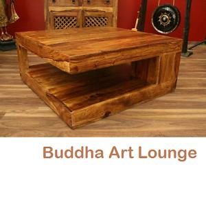 Das Bild Wird Geladen Couchtisch Stauraum 90x90x40 Sheesham Holz Massiv Wohnzimmertisch Quadratisch
