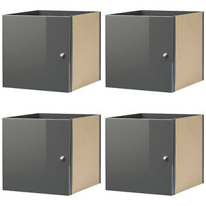 ikea kallax einsatz mit t r hochglanz grau f r expedit kallax regal 4 st ck neu ebay. Black Bedroom Furniture Sets. Home Design Ideas