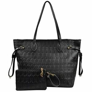 Korean Style Women Black Devil Skull Pu Leather Tote Bag Shopping ... 955de1379547f