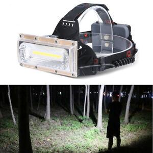 LED-COB-USB-rechargeable-18650-frontale-Phare-Peche-torche-lumiere-Lampe-de-tete