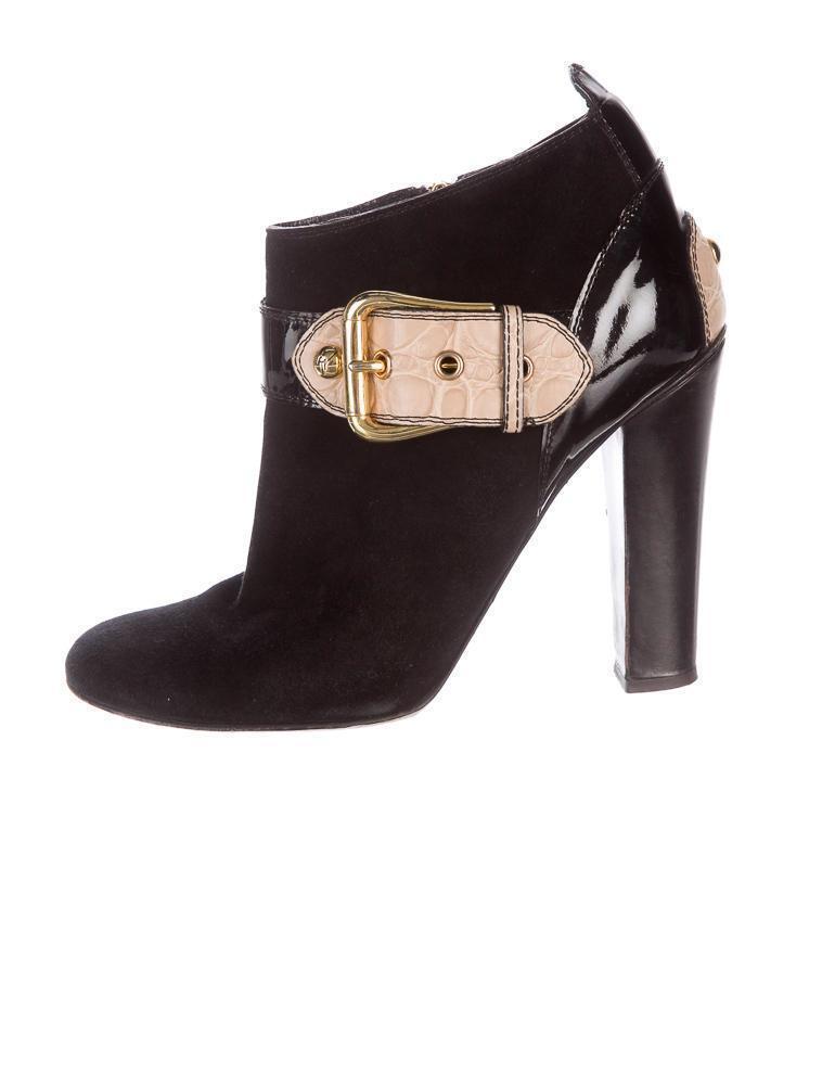 GIUSEPPE ZANOTTI Womens Black Suede Beige Buckle Pump Ankle Bootie Boot 10-40
