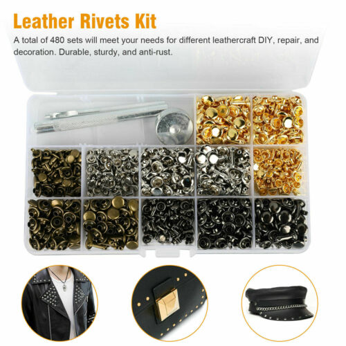 480Pcs DIY Leather Craft Rivet Double Cap Tubular Metal Stud Repair Tool Kit US