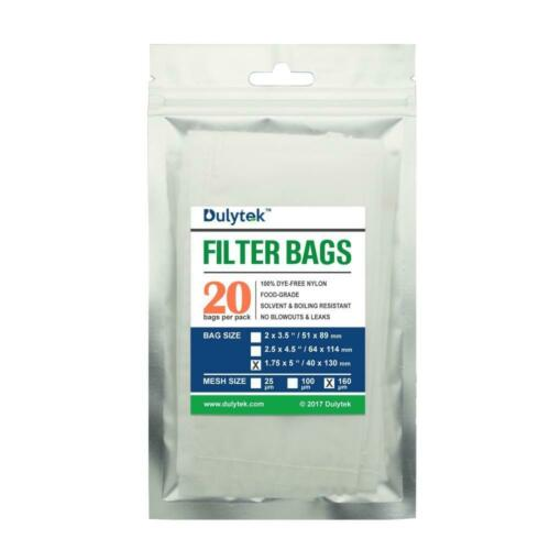 Nylon 160 microns Dulytek Filter Bags 160 Micron 1.75 x 5 inches 20 Pcs