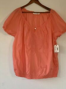 St-Johns-Bay-Womens-2X-Georgia-Peach-Short-Sleeve-Tunic-Embroidered-Blouse-NWT