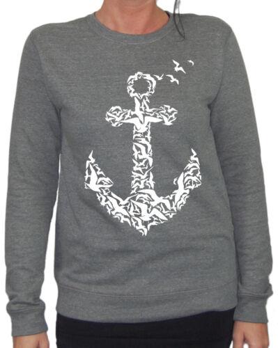 Flying Anchor Damen Sweater Tattoo Ostsee Nordsee Seemann Anker Urlaub