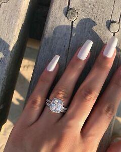 2-30-Ct-Cushion-Cut-Diamond-Halo-Engagement-Wedding-Ring-Set-14k-White-Gold-Fn