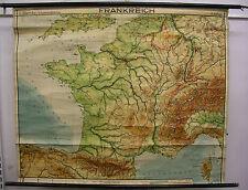 Schulwandkarte schöne alte Frankreichkarte La France ~1954 158x130c vintage Wein