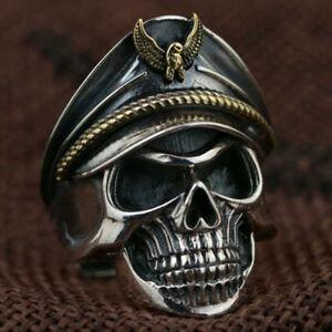 Totenkopf-Knochen-Verstellbar-Stein-Finger-Ring-Korps-Schaedel-Kopf-Offnung-zzy