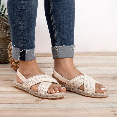 New Women Platform Summer Slip On Sandals Espadrille Ankle Summer Peep Toe Shoes
