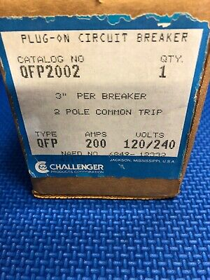 NEW Challenger QFP2002 2 pole 200 amp common trip 120//240v New in box